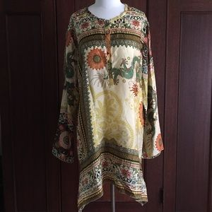 Johnny Was Tops - Johnny Was silk tunic Asian dragon print NWOT L